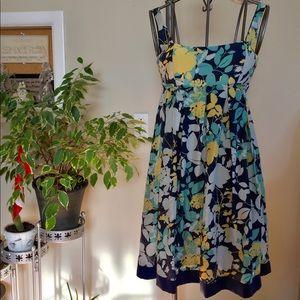 BCBG Paris blue empire waist silk dress